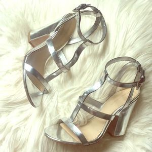 Zara Silver Strappy Disco Heels